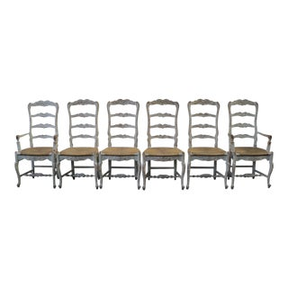 Set of 6 Antique White Painted French Country Chairs