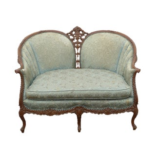 Vintage French Provincial Rococo Ornately Carved Blue Settee Loveseat ~ Louis XV