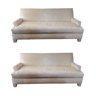 White Velvet Sofas - A Pair