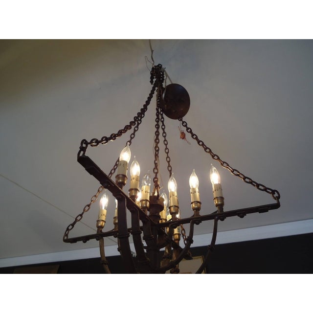 Gothic Style Brown Wrought Iron Chandelier - Image 2 of 4
