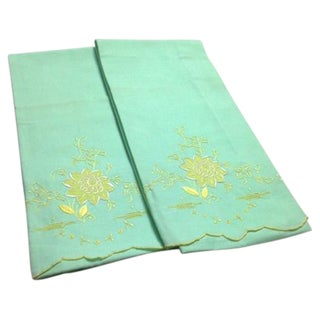 Vintage Green Pillowcases - A Pair