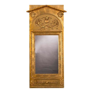 Antique Swedish Empire Gold Leaf Mirror With Carving, circa 1820 (15″w x 36″h)