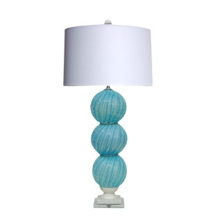 Murano Stacked Ball Lamp in Sky Blue