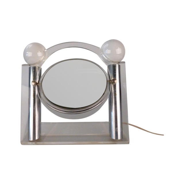 Vintage Vanity Mirror With Lights : Vintage Chrome and Lucite Vanity Mirror With Light Chairish