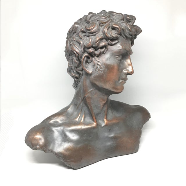 Vintage Neoclassical Roman Plaster Male Bust of David - Image 6 of 6