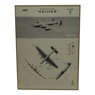 "Vintage WWii Aircraft Recognition Poster ""Handley Page Halifax"", R.A.F., 1942"