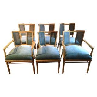 1960s Rattan & Velvet Dining Chairs - Set of 6