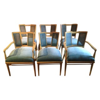 1960s Rattan & Velvet Dining Chairs - Set of 6
