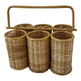 Mid-Century Wicker & Bamboo Wine Carrier / Utensil Caddy