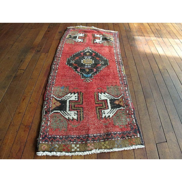 Vintage Turkish Oushak Hand-Knotted Wool Rug - 1' x 4' - Image 2 of 11