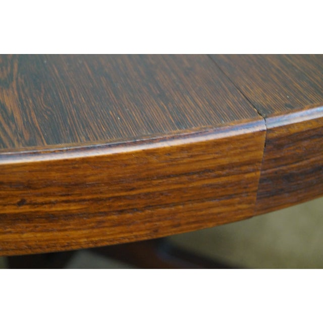 Vintage Danish Modern Rosewood Round Dining Table - Image 4 of 10