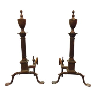 Antique Federal Style Andirons - A Pair