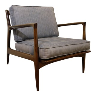 Mid-Century Danish Finn Juhl Style Open Arm Walnut Lounge Chair