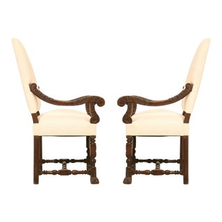 Pair of Hand-Carved French White Oak Throne Chairs