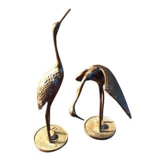 Brass Standing Cranes - A Pair