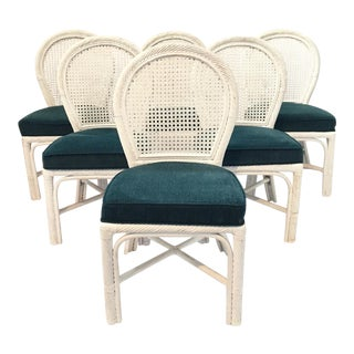 Twisted Rattan Bamboo Cane Back Dining Chairs - Set of 6