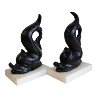 Onyx Dolphin Bookends - A Pair