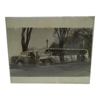 C. 2000 1933 Worlds Fair Greyhound Bus Black & White Photograph