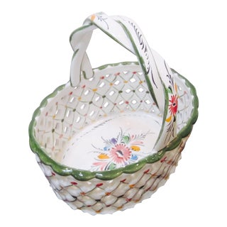 Handpainted Reel Basketweave Pottery Basket