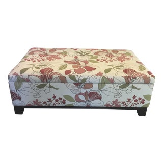 Reupholstered Floral Storage Ottoman