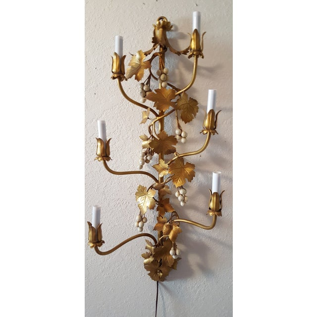 Wall Sconces With Grapes : 1960s Gilt Tole Grape Cluster Wall Sconce Chairish
