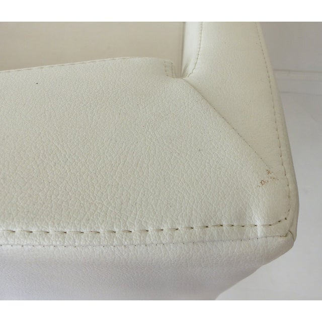 Modernist White Leather Swivel Chairs - A Pair - Image 9 of 10