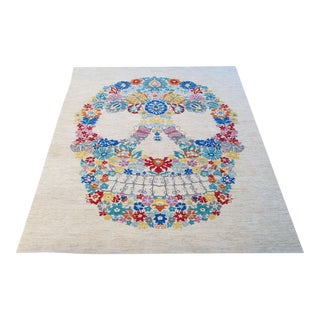 Contemporary Hand-Made Oushak Wool Skull Rug - 9'x12'