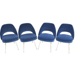 Saarinen for Knoll Executive Armless Chairs in Indigo Velvet