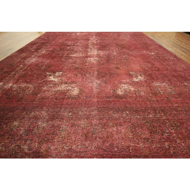 Persian Overdyed Rose Red Tabriz Rug 10' x 13' - Image 4 of 8