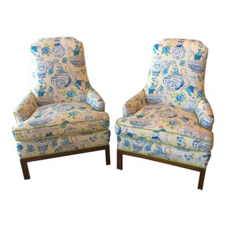 Mid-Century Modern Chinoiserie Newly Upholstered Arm Chairs - a Pair