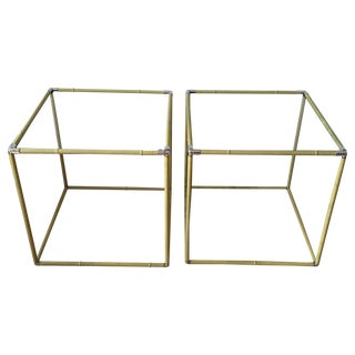 Vintage Metal & Chrome Bamboo Side Tables - A Pair