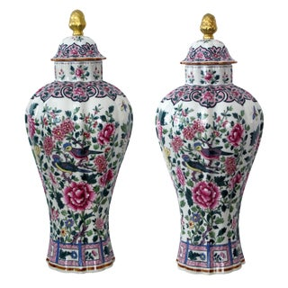 Elegant Pr of French Paris Porcelain Baluster-Form Covered Jars
