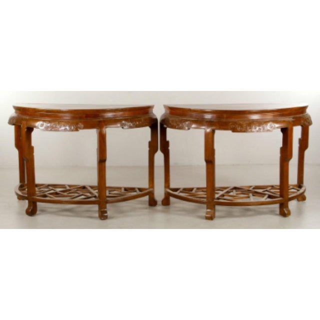 Pair 19th Century Chinese Carved Demilune Tables - Image 4 of 6