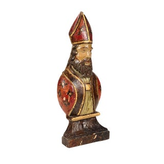 Antique Spanish Colonial Wooden Cardinal Bust