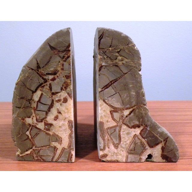 Image of Vintage Mid-Century Modern Agate Bookends - A Pair