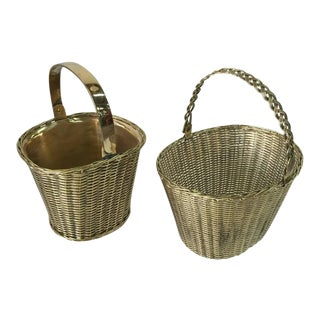 Pair of Polished Brass Orchid Baskets in the Manner of Gabriella Crespi
