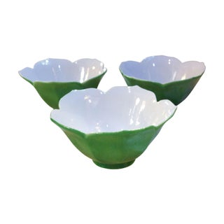 Vintage Green Lotus Glass Bowls