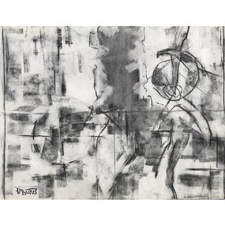 Harold Christopher Davies Abstract Charcoal Drawing