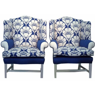 Oversized Blue & White Blossom Chairs - A Pair