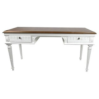Vintage Neoclassical Cove Arched Desk