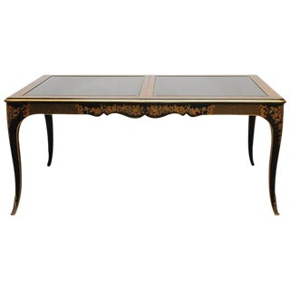 Drexel Et Cetera Black Lacquer Chinoiserie Dining Table
