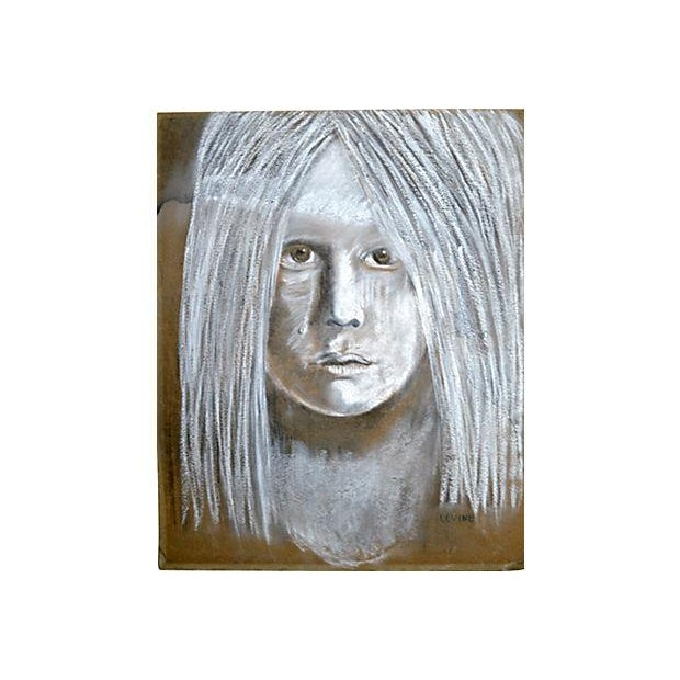 Levine Hyperrealistic Chalk Drawing Portrait - Image 2 of 4
