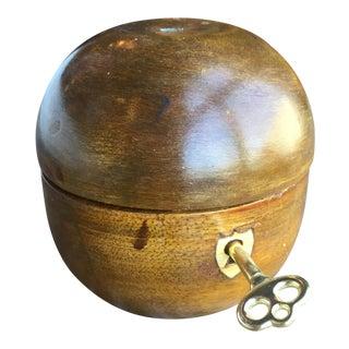 Hand Carved Antique Wood Apple Lockbox