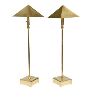 American Pair of Brass Adjustable Table or Floor Lamps, Chapman