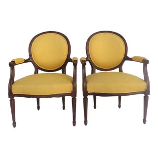 Louis XVI Style Upholstered Armchairs - A Pair