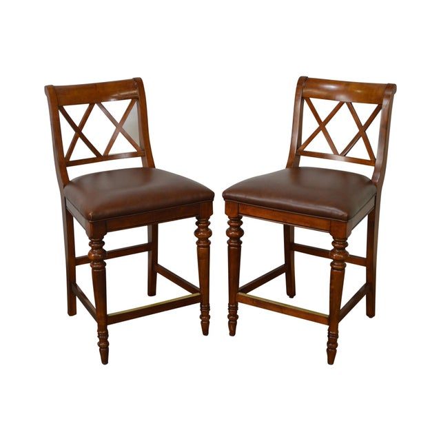 Ethan Allen Regency Style Counter Bar Stools - A Pair - Image 11 of 11