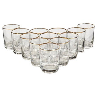 Gilt Rim Old Fashioned Glasses - Set of 12