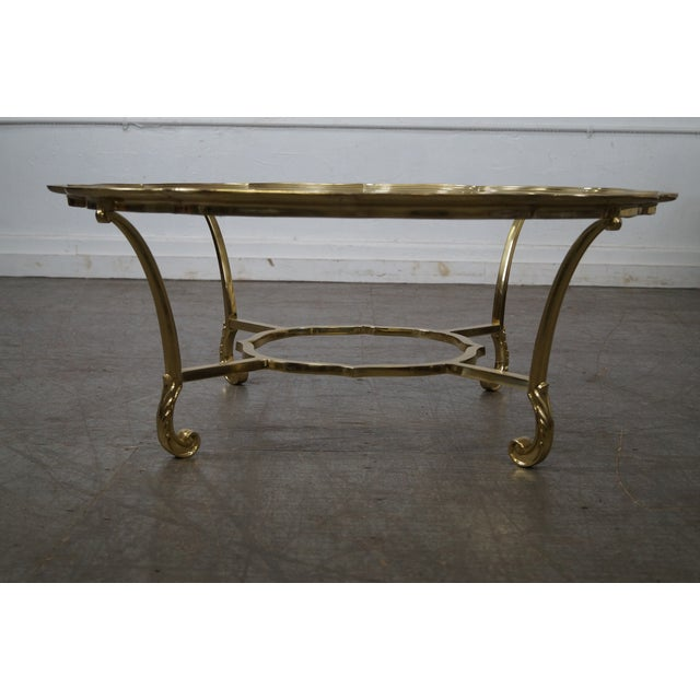 LaBarge Italian Brass & Glass Scalloped Top Coffee Table - Image 2 of 10