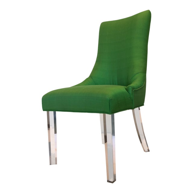 Green Silk Acrylic Chair - Image 1 of 9