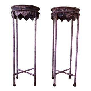 Rustic Metal Tiki Plant Stands - A Pair